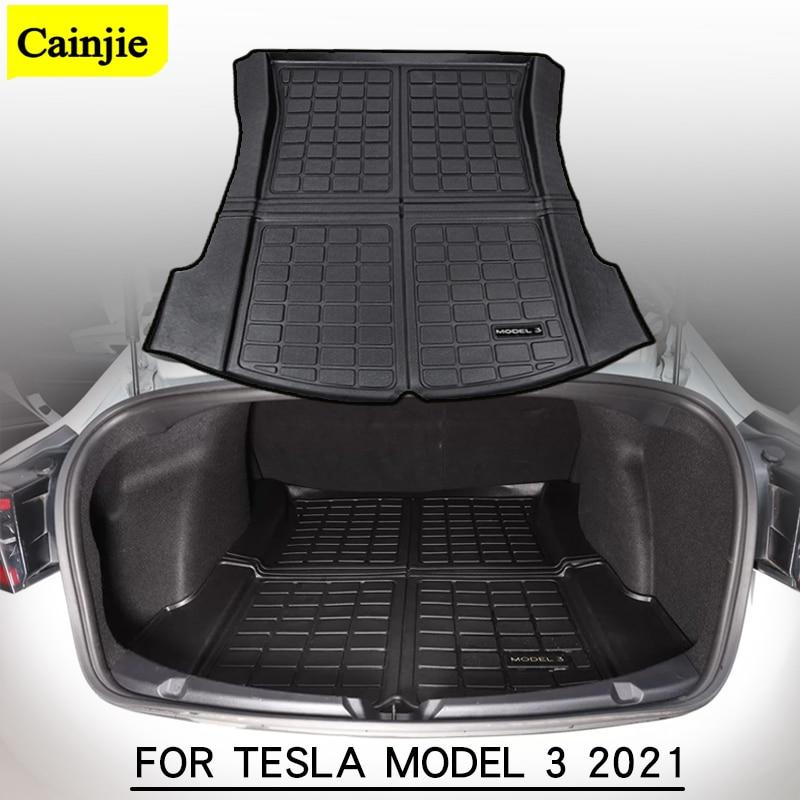 Tapis de coffre de voiture Tesla, accessoires de coffre, tapis de coffre en caoutchouc TPE, tampons imperméables, tapis de rangement pour plateau arrière, modèle 3 2021