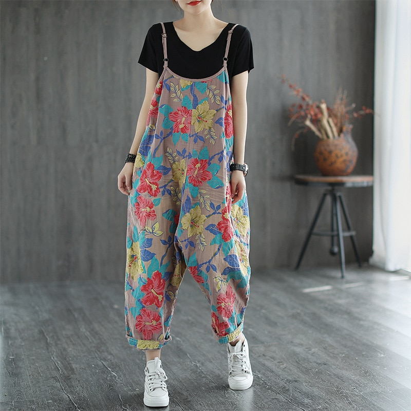 Johnature Women Retro Print Pockets Loose Plus Size Wide Leg Jumpsuits 2021 Summer New Simple Comfortable Ankle-length Jumpsuits