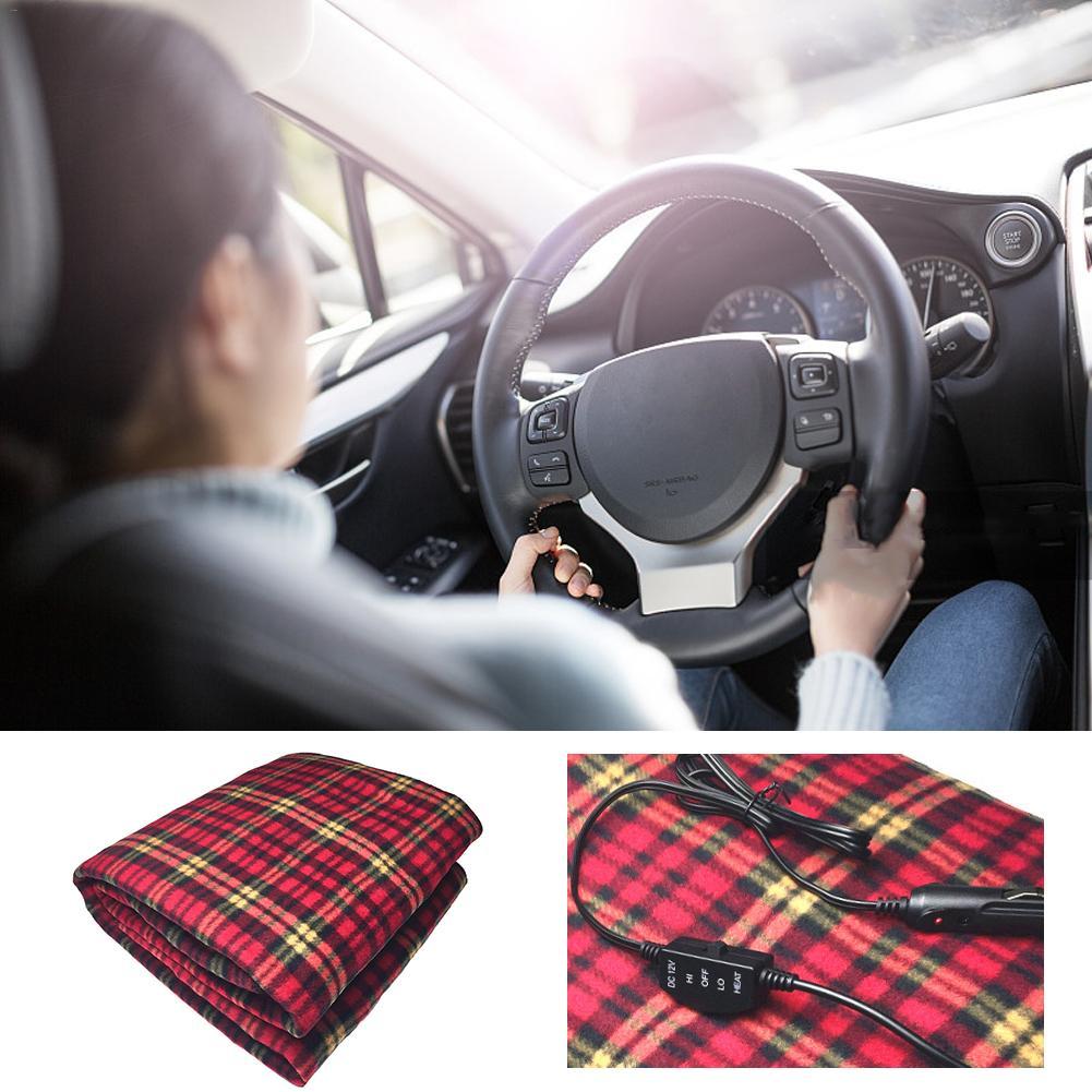 Manta de calefacción eléctrica para coche de 150x100cm, manta eléctrica caliente de 12V con rejilla automática y ahorro de energía para inviernos fríos, uso en RV o emergencia