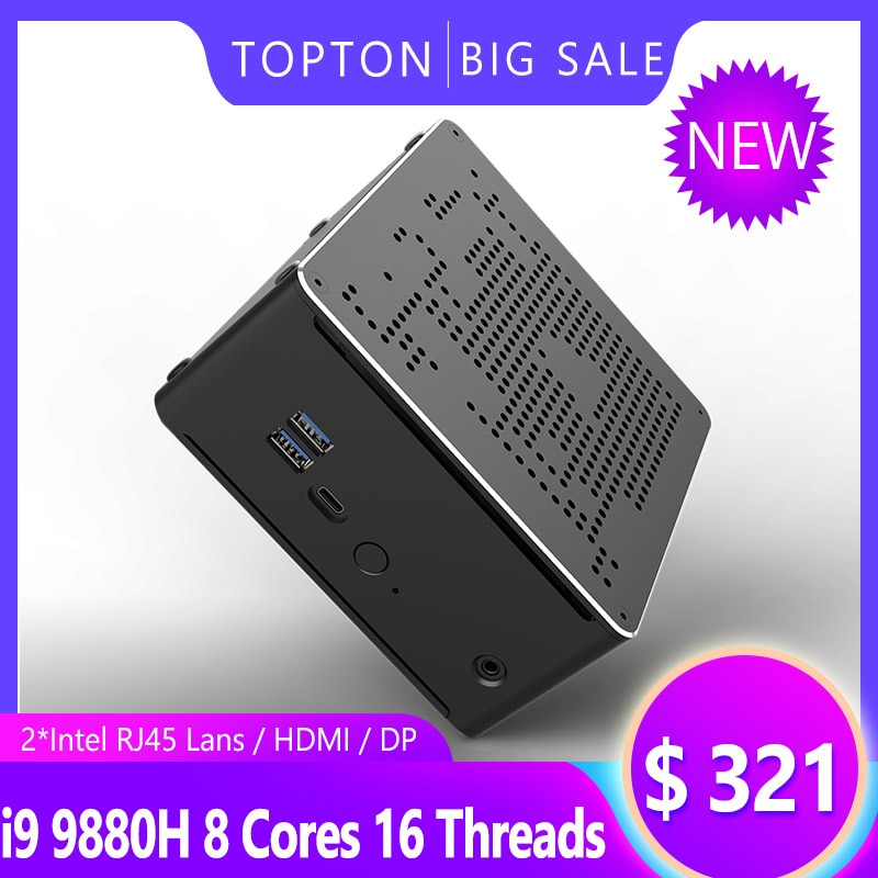 Najnowszy Mini komputer Intel i9 9980HK i9 9880H i7 9850H 2 * DDR4 2 * M.2 PCIE + 1*2.5 SATA Graphics 630 cisza gier PC HDMI DP AC WiFi BT