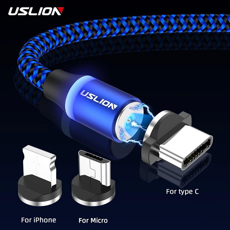 Uslion cabo de carregamento usb magnético micro tipo c para iphone 11 pro ímã rápido max cabo do telefone móvel para samsung s10 s9 s8 a50