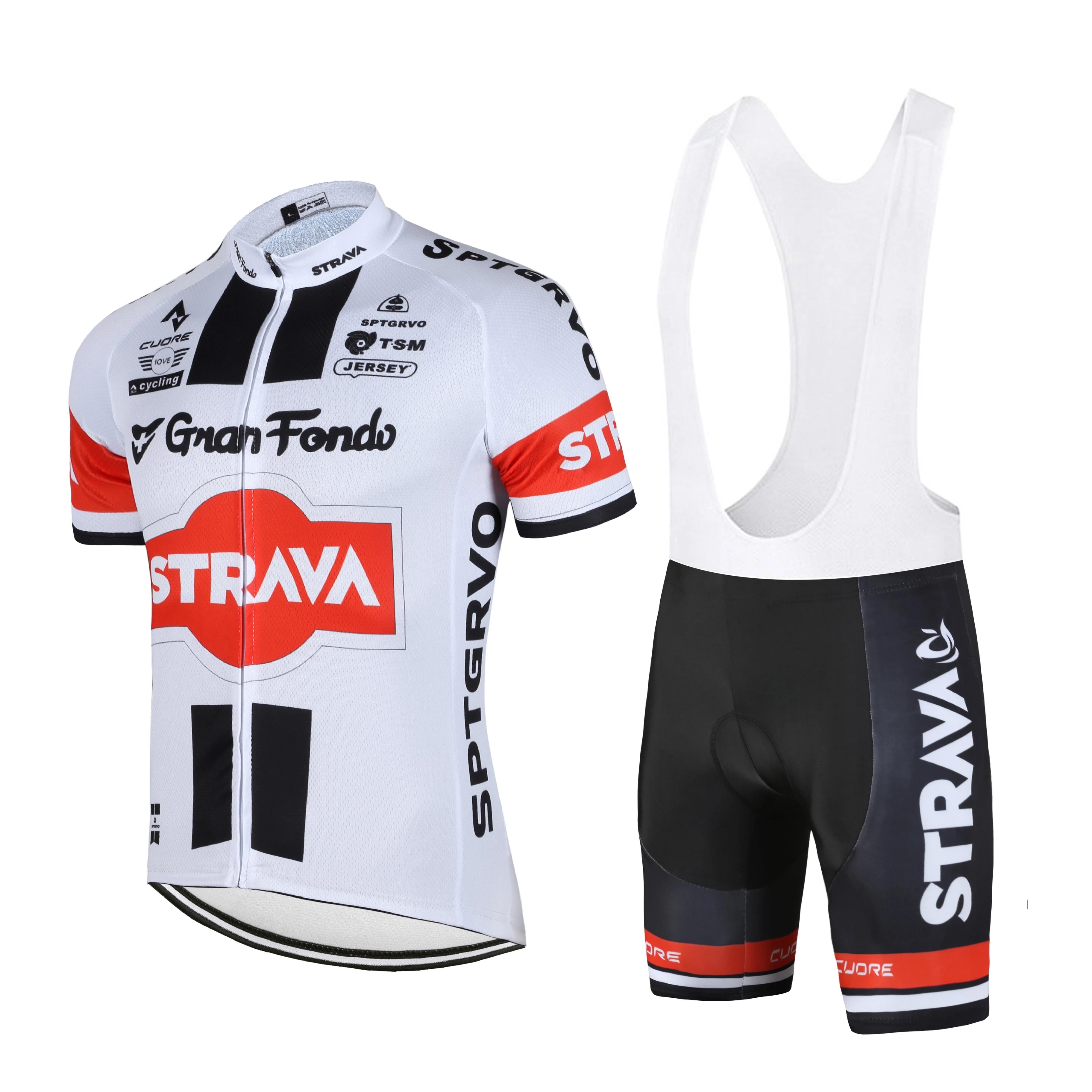 STRAVA-Conjunto de Ropa de Ciclismo de equipo profesional para hombre... Maillot de...