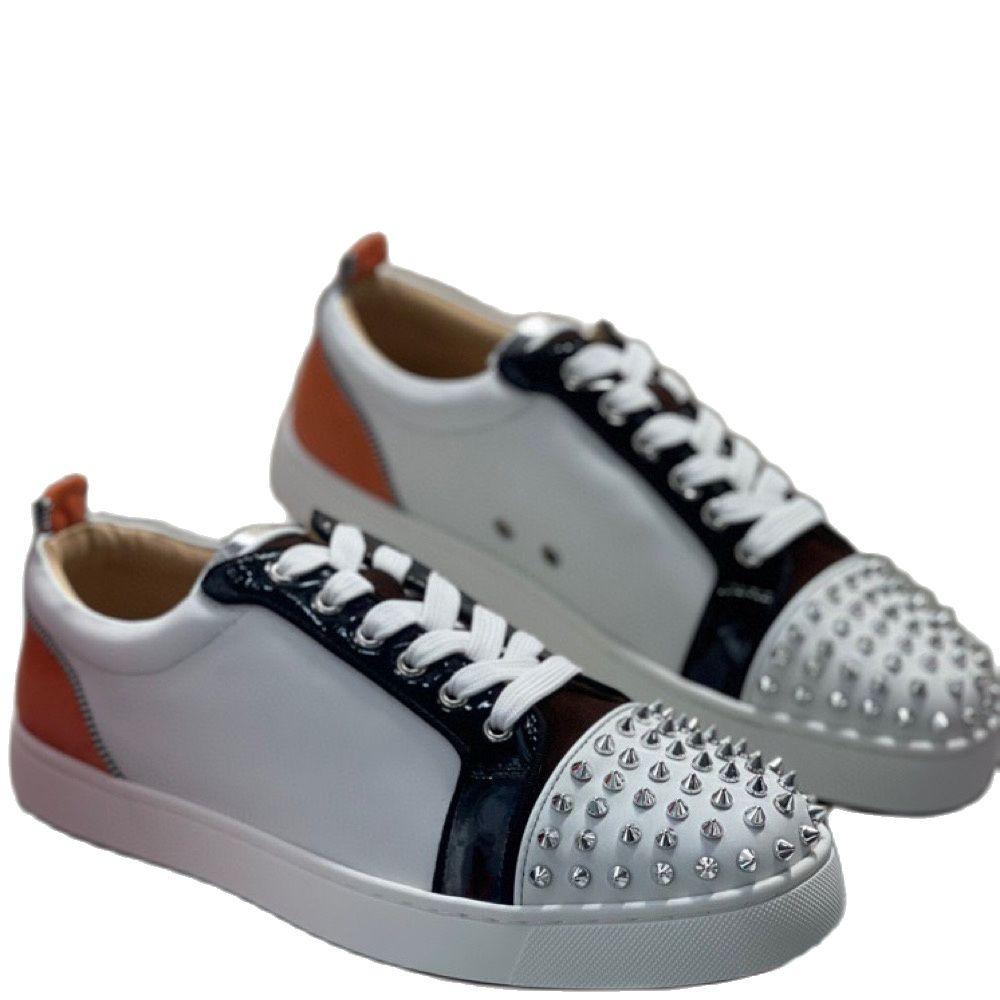 الرجال ShoesLow قطع كعب أحمر أسفل أحذية من الجلد الحقيقي للرجال الدانتيل يصل حذاء مسطح غير رسمي المتسكعون الفضة برشام Toecap أحذية رياضية