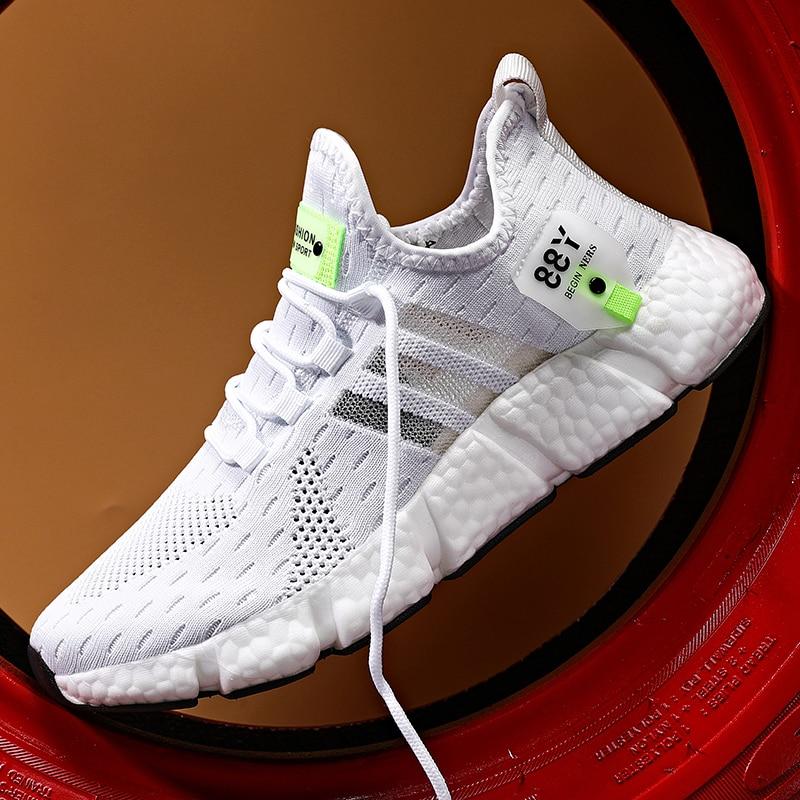 رجّالي أحذية رياضية في الهواء الطلق حذاء كاجوال أبيض خفيف احذية الجري تنفس شبكة الرجال أحذية رياضية غير رسمية موضة تنس الأحذية