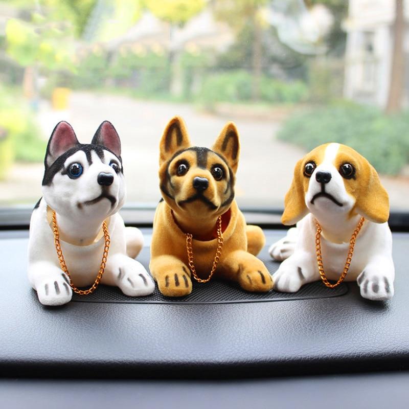 Figuras de acción de Husky Beagle, decoración Interior de coche, perro, cabeza...