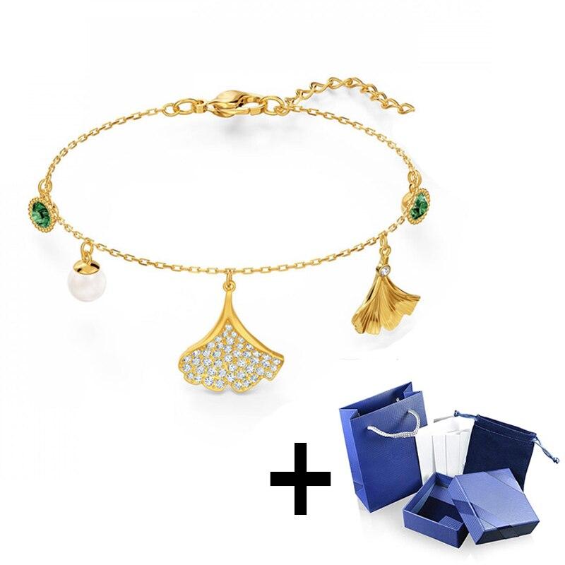 Pulsera SWA Original de gran calidad con Logo, pulsera de mujer con impresionante hoja en forma de Gingko, regalo de joyería, envío gratuito