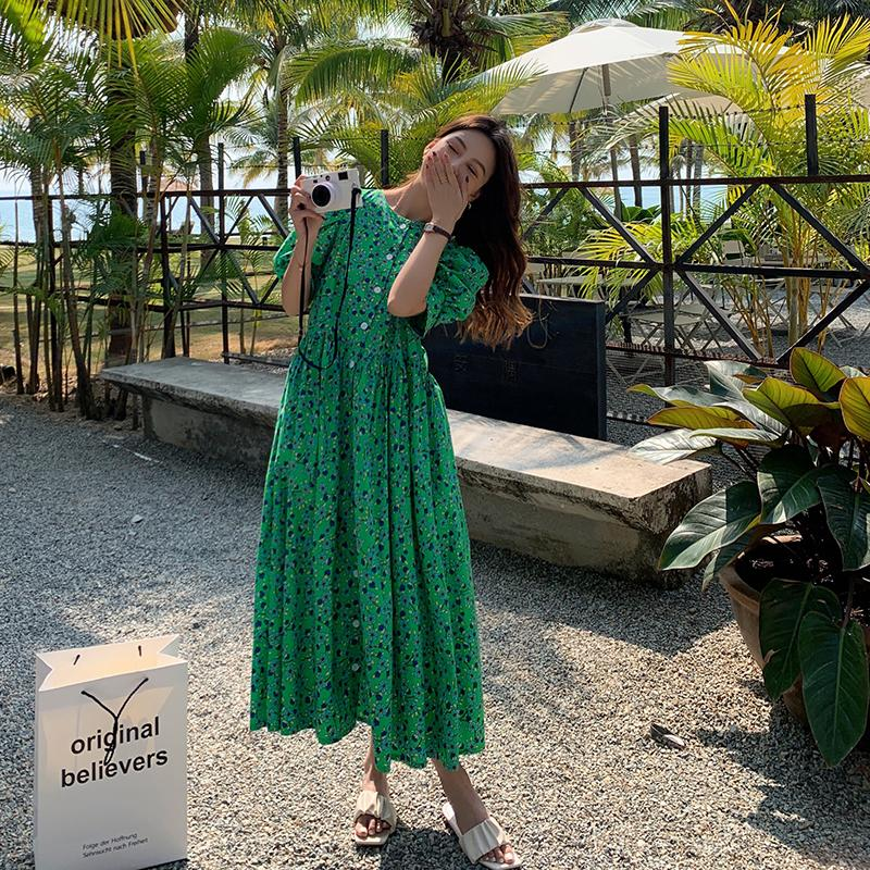 Summer Fashion Plus Size Ladies Floral Green Mixi Dress Oversized Loose Single Breasted Short Sleeve Dress Female Vestidos