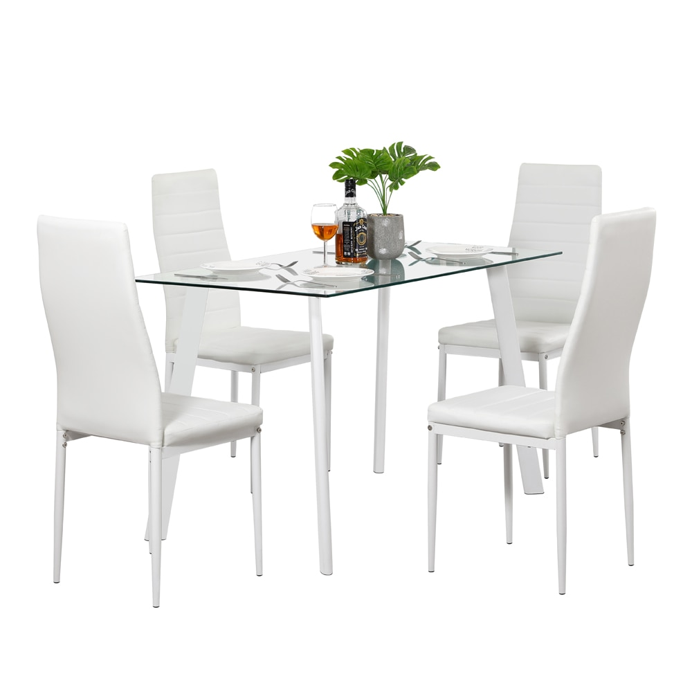 DA130 120x70x75cm Hot 5 Piece Dining Table Set 4 Chairs Glass Metal Kitchen Room Furniture White