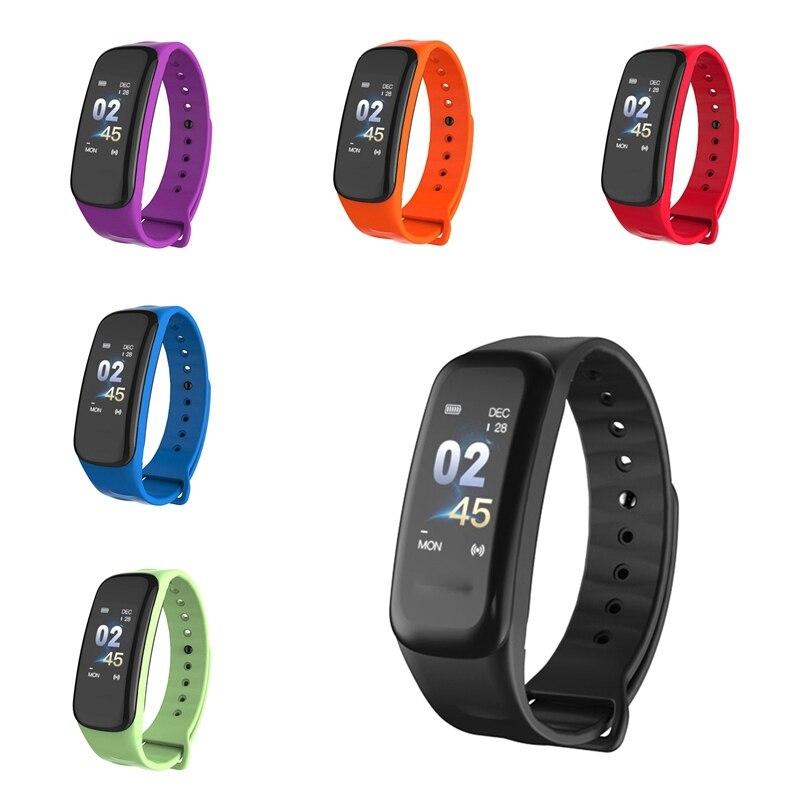 Relógio esportivo feminino c1 banda inteligente pressão arterial rastreador de fitness monitor de freqüência cardíaca pulseira masculina