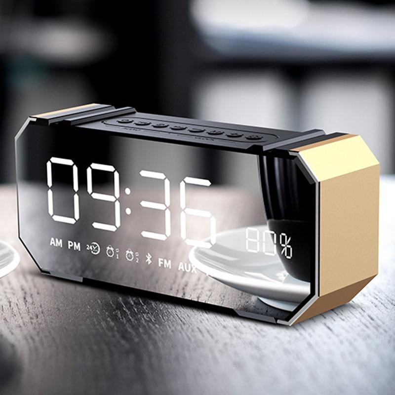 Altavoz Bluetooth inalámbrico de 10W con alarma, Radio FM, compartición de pantalla LCD, escritorio, Colck GK8899