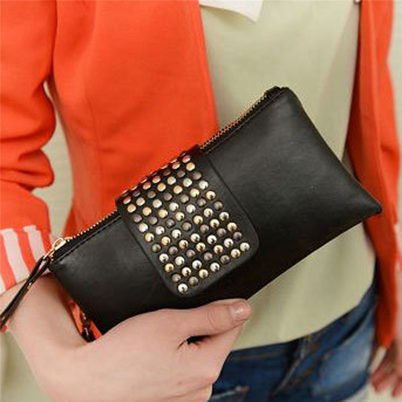 Bolsa de embreagem feminina europeu e americano cravejado preto plutônio couro macio meados de comprimento moda senhoras jantar com duplo zip carteira