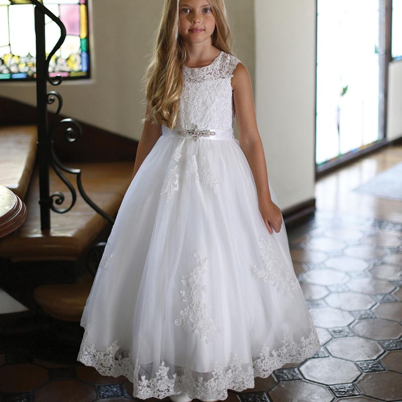 Wholesale Princess White Lace Sleeveless Flower Girls Dresses Jewel Neck with Beaded Bow Belt Holy Communion Gowns Appliqued