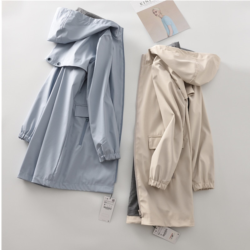 Plus size Womens Loose Medium Length Hooded Windbreaker 2020 Spring Autumn Windproof Waterproof Raincoat Trench Coat Lady palto