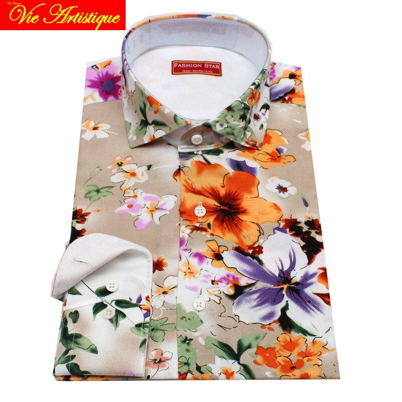 Camisas florales de algodón a medida hechas a medida para hombres, blusa formal de boda, pintura al óleo, flor beige, moda, david