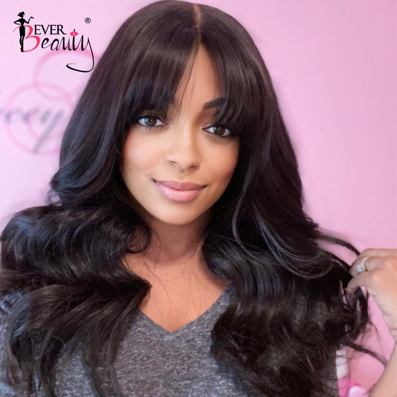 Body Wave Lace Front Human Hair Wigs For Black Women Brazilian HD Transparent 13x4 Lace Frontal Wig With Bangs Ever Beauty Remy