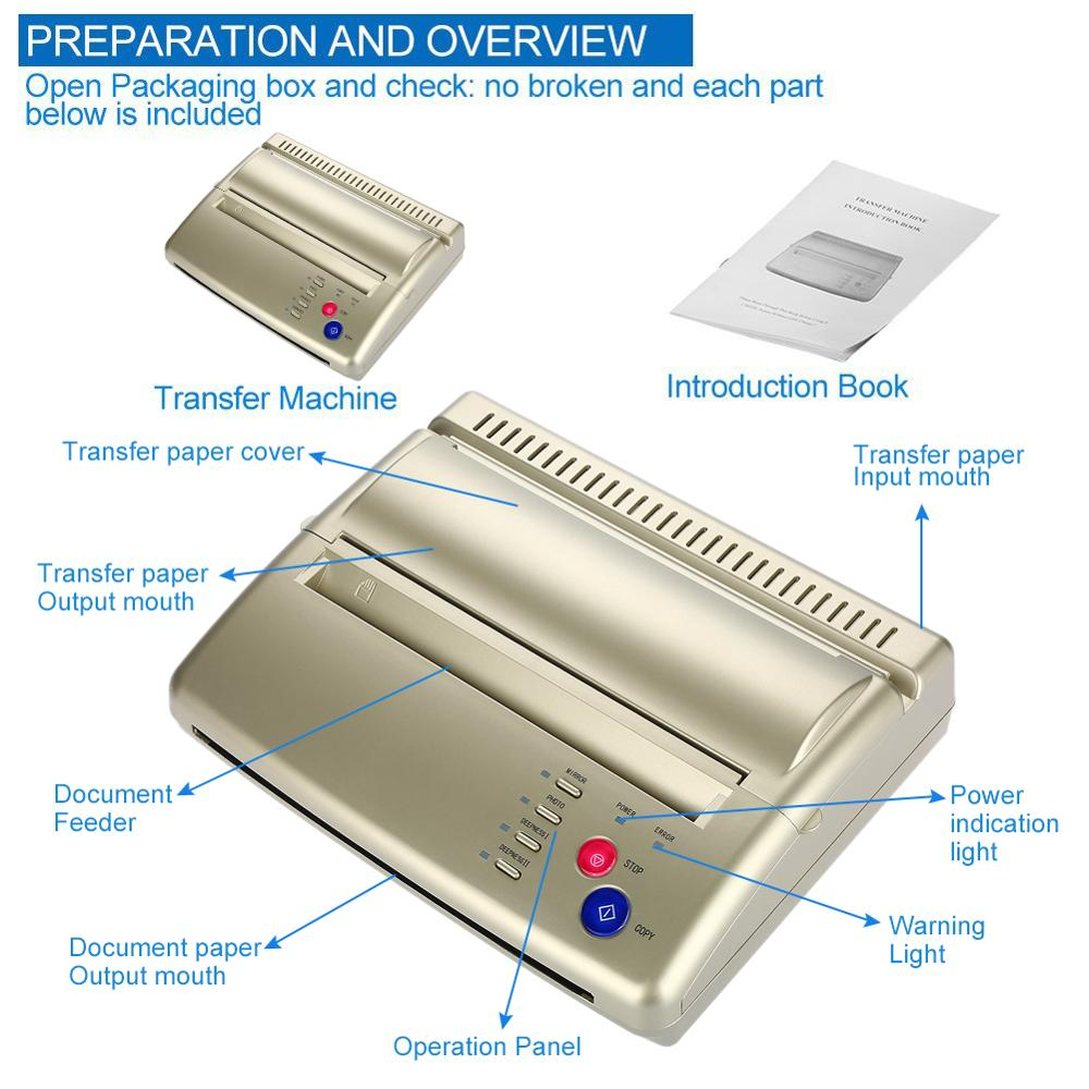 Portable A5-A4 Tattoo Transfer Copier CIS Mode Hot Template Paper Ordinary Thermal Stencil Paper Photo Transfer Printer Machine