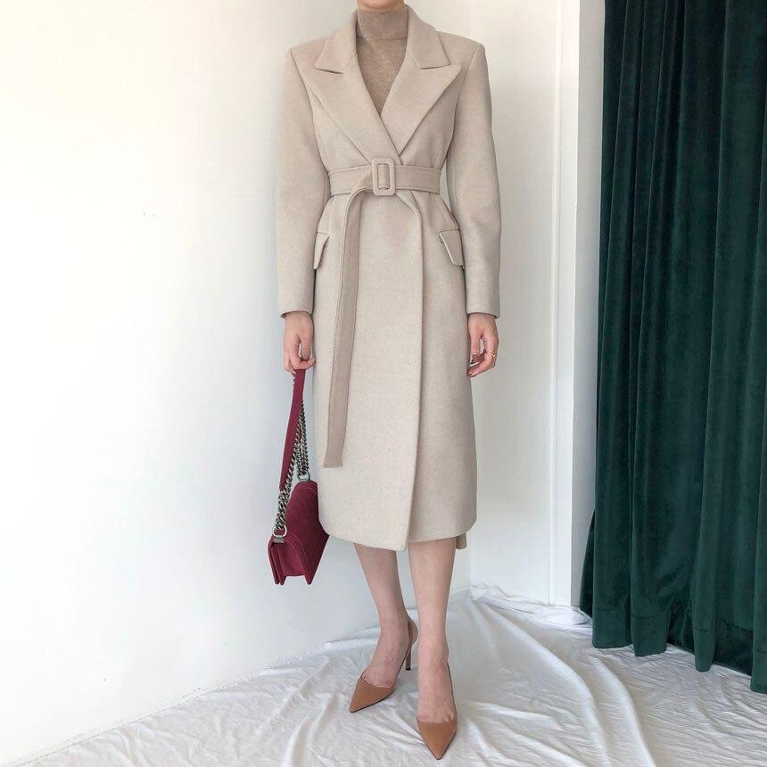 Abrigo largo clásico de lana Beige con cinturón para mujer, prendas de...