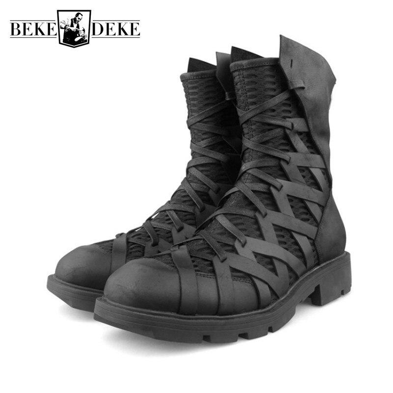 أحذية رياضية جلدية أصلية للرجال ، أحذية بانك عالية الجودة ، أحذية رياضية فاخرة للدراجات النارية ، نمط الهيب هوب غير رسمي مع سحاب خلفي
