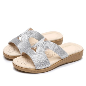 Women's Beach Slippers Weave Plus Size Thick Bottom Platform Female Shoes Comfortable Concise 2021 Summer Ladies Sandals