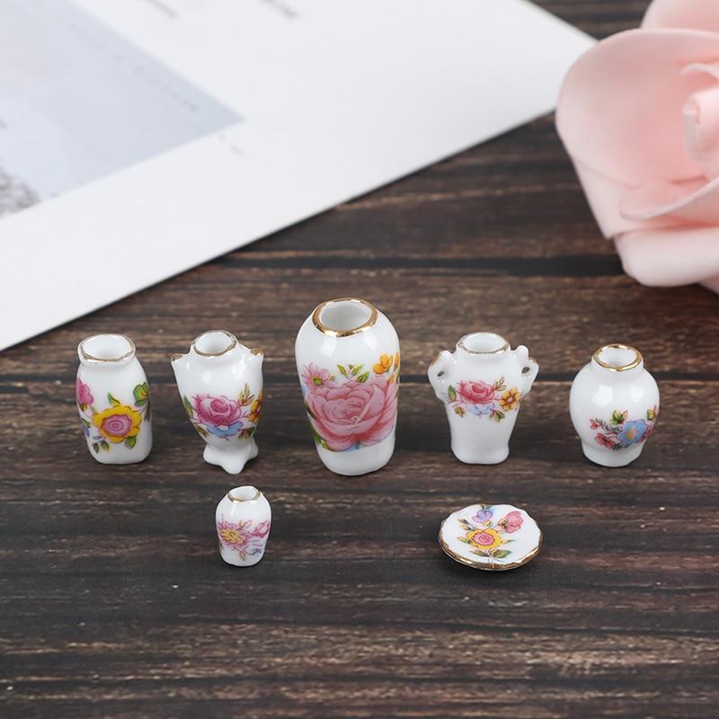 7 Uds Mini 112 miniatura casa de muñecas de porcelana flor accesorios para jarrón 1 ~ 2,5 cm