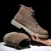 autumn and winter mens leather boots new leather warm mid to high fashion casual martin boots thick soled tooling boots