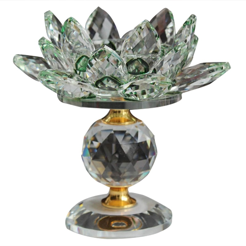 Glas Block Lotus Blume Metall Kerzenhalter Feng Shui Home Decor Großen Teelicht Stehen Halter Leuchter-Grün
