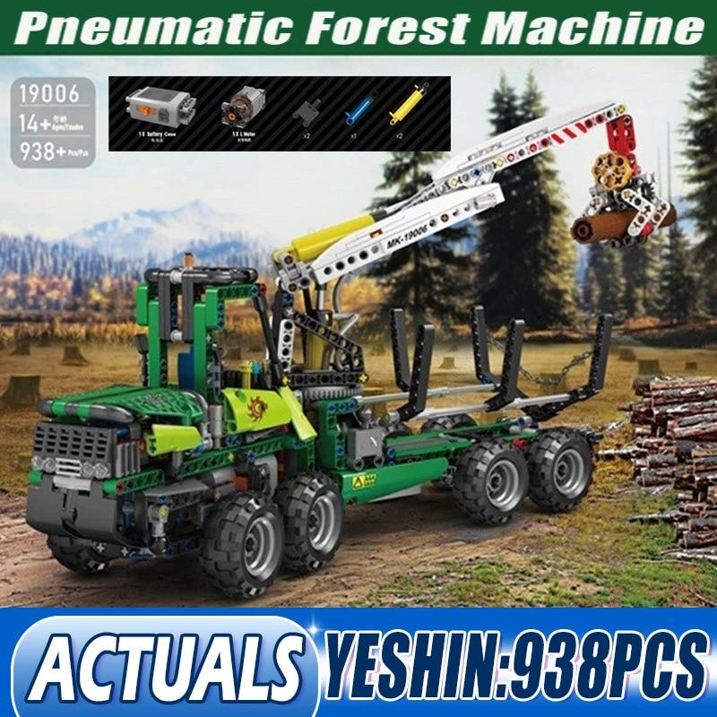 قالب الملك 19006 موتوتيزد التكنولوجيا الفائقة الهوائية آلة الغابات نماذج من الشاحنات اللبنات ألعاب تعليمية للأطفال هدايا عيد الميلاد