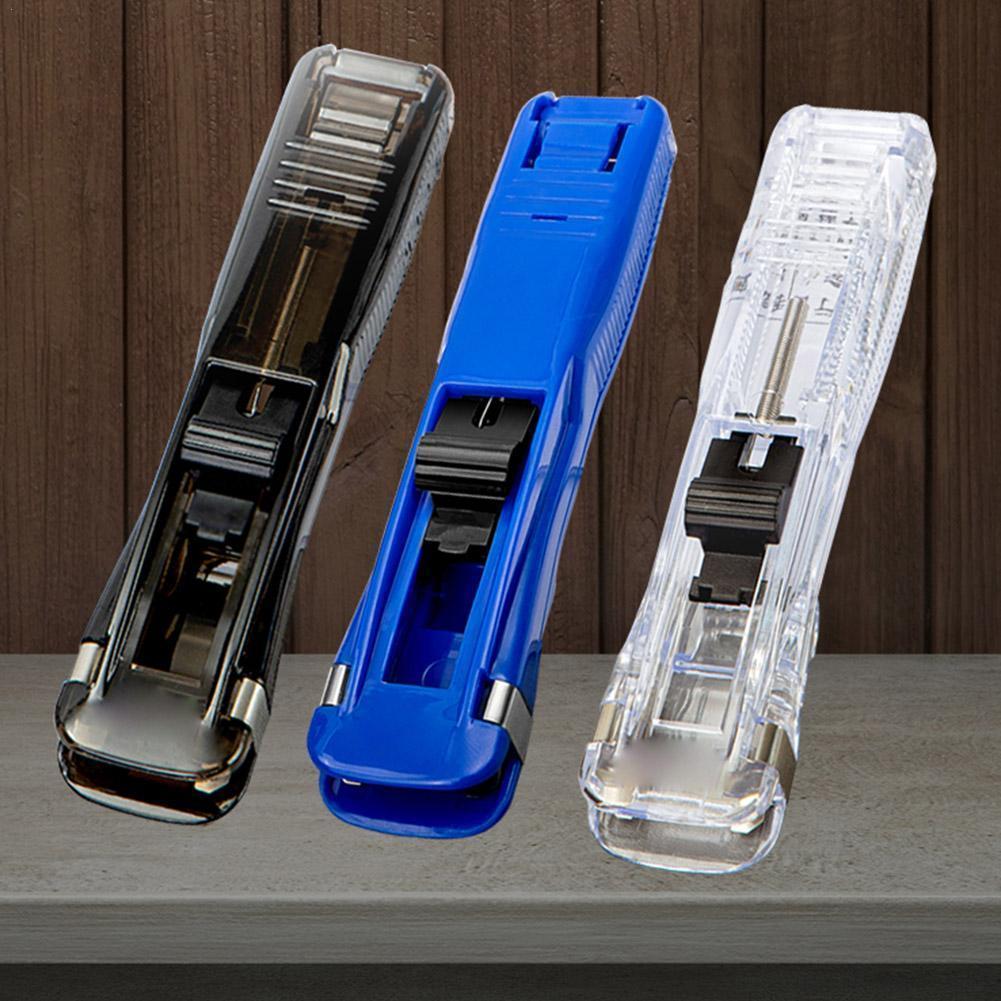 1 шт. портативный металлический степлер с зажимом, новейший степлер для фиксации бумаги, многоразовый степлер с нажимом для обвязки докумен...