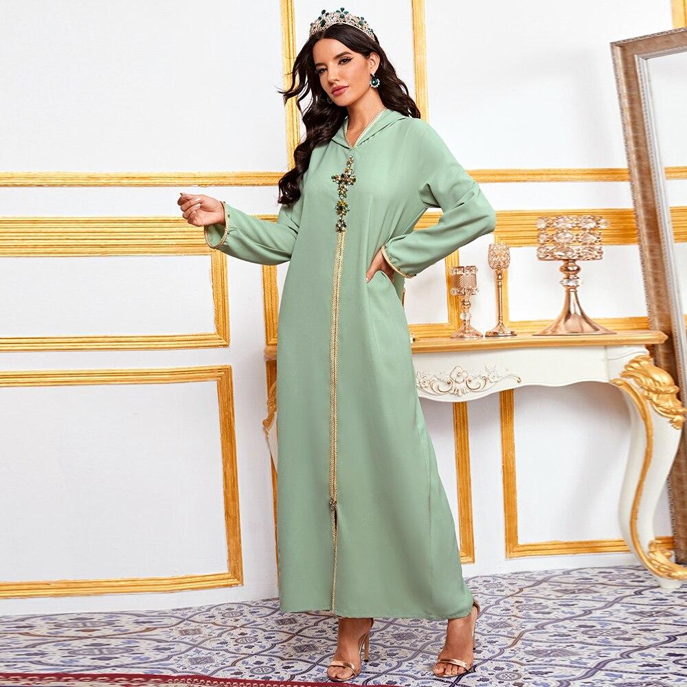 Турецкое мусульманское хиджаб платье абайя с капюшоном, алмазная Исламская одежда, африканские платья для женщин, марокканский кафтан мусу...