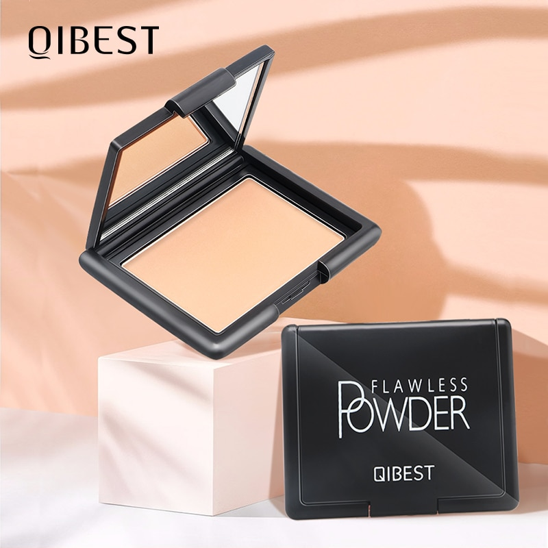 QIBEST 9 Colors Professional Face Powder Oil Control Brighten Full Coverage Concealer Long Lasting Makeup Compact Setting Powder