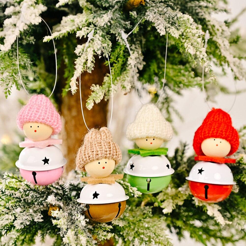 Рождественские украшения вязаная шапка кукла колокольчик кулон рождественские украшения для елки пятиконечная звезда Лось Ангел колоколь...