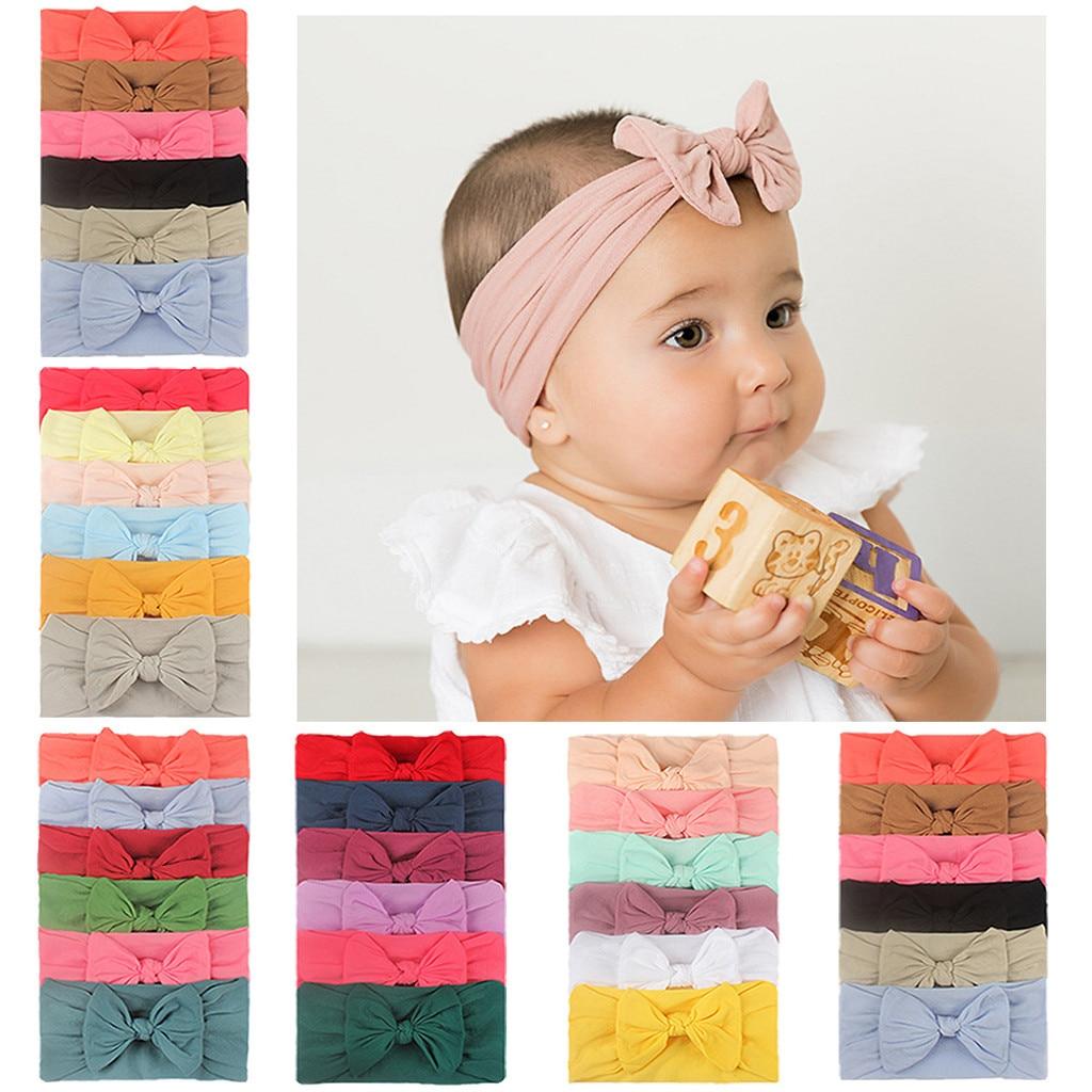 6Pcs Algodão Do Bebê Meninas Headwears Crianças Bowknot Macio Arco Nó Conjunto Headbands Grampos de cabelo Cocar Acessórios Para o Cabelo Crianças Presentes