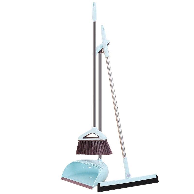 Vassoura mágica dustpan terno dobrável de aço inoxidável doméstico plástico pp vassoura combinação cabelo macio limpo dustless ferramentas limpeza