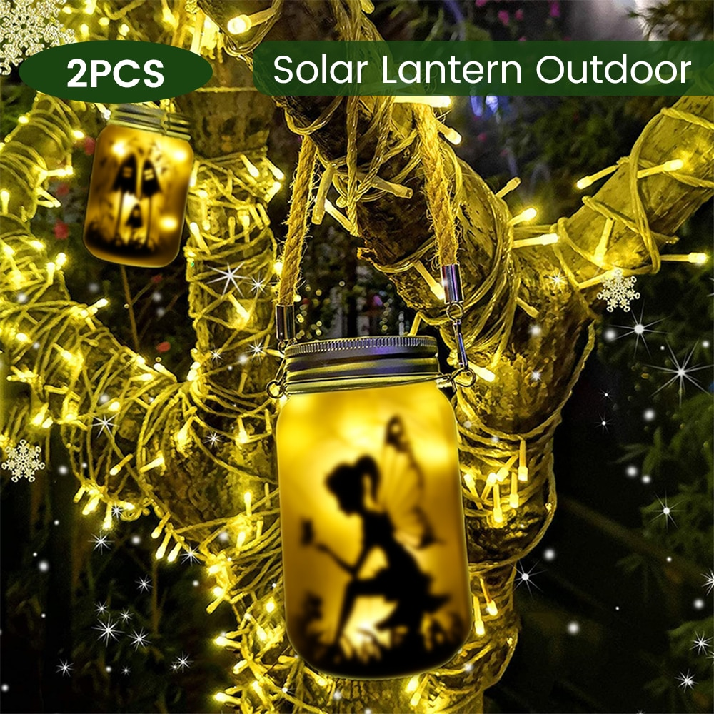2 Pcs Solar Mason Jar Lights 20 LEDs Fairy Jar Lid Lights Fairy String Lights LED Hanging Solar Lanterns For Patio Yard Wedding