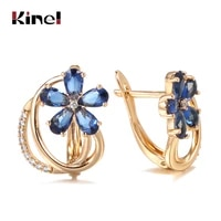 kinel trend blue natural zircon flower stud earrings for women wedding 585 rose gold earrings fashion vintage jewelry 2021
