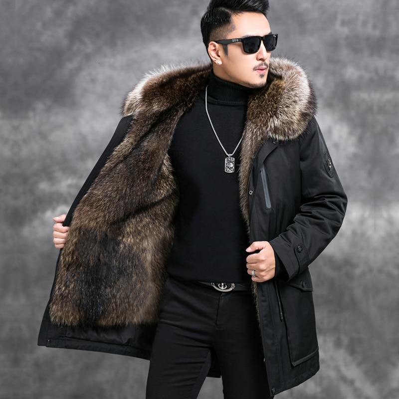 معطف شتوي رجالي من فرو الراكون الحقيقي, معطف فراء الراكون الحقيقي معطف شتوي للرجال مقاس كبير بطانة من فرو الراكون الطبيعي معطف دافئ 4549 YY1014