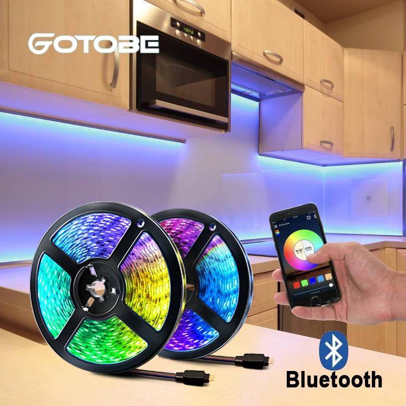 Bluetooth Control LED Strip RGB 5050 1M/60LED Flexible Waterproof 12V 5M 10M 15M Led Light Strip for Livingroom Garden Bedroom
