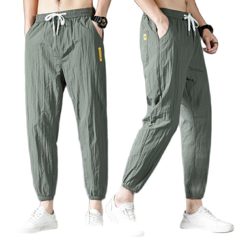 Новинка весна-лето 2021, Мужские штаны для отдыха, Молодежные дышащие штаны из ледяного шелка, девять %