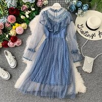 young gee 2021 autumn winter vintage lace floral midi dress elegant women party long sleeve pearls beading mesh ruffles dresses