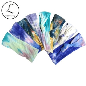 GZhilovingl Women Tie Dye Ribbed Cotton headband Hair Accessories Summer Multi-color Printing Knot Bow Hairband Customized Stuff