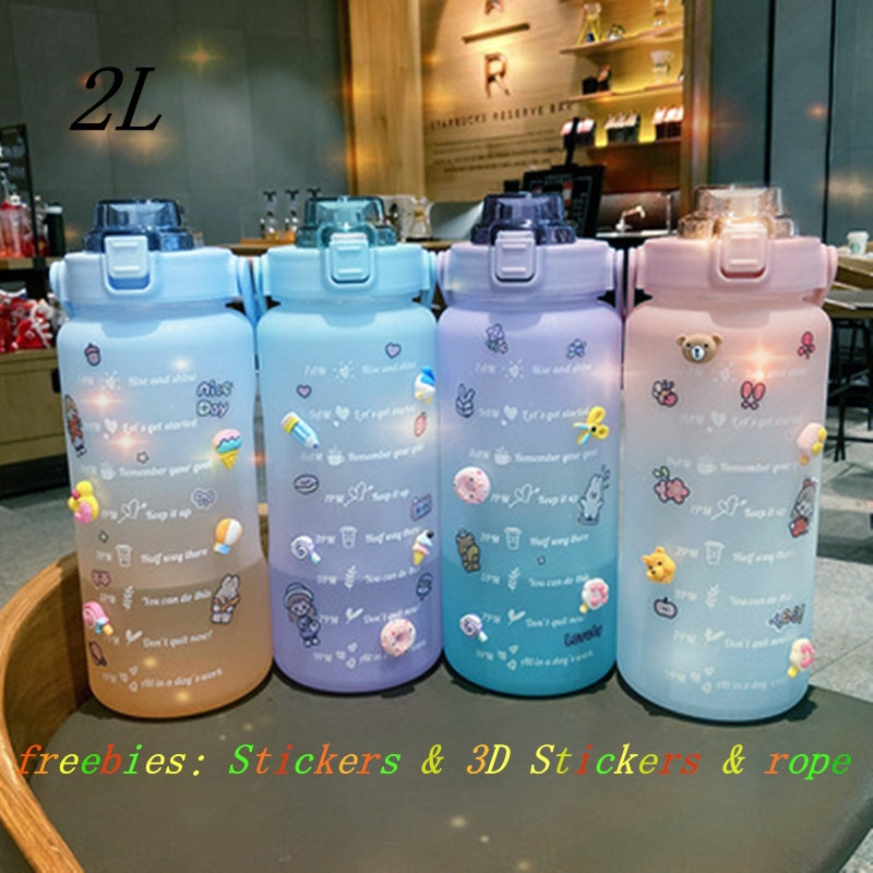 2L Large Capacity Water Bottle Straw Cup High Temperature Plastic Water Cup Time Scale Frosted Outdo