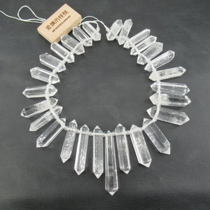 """APDGG Natural Large Top-drilled Nugget Real Clear Quartz Beads Smooth Rough Irregular Stone 15.5"""" Strand Jewelry Making DIY"""