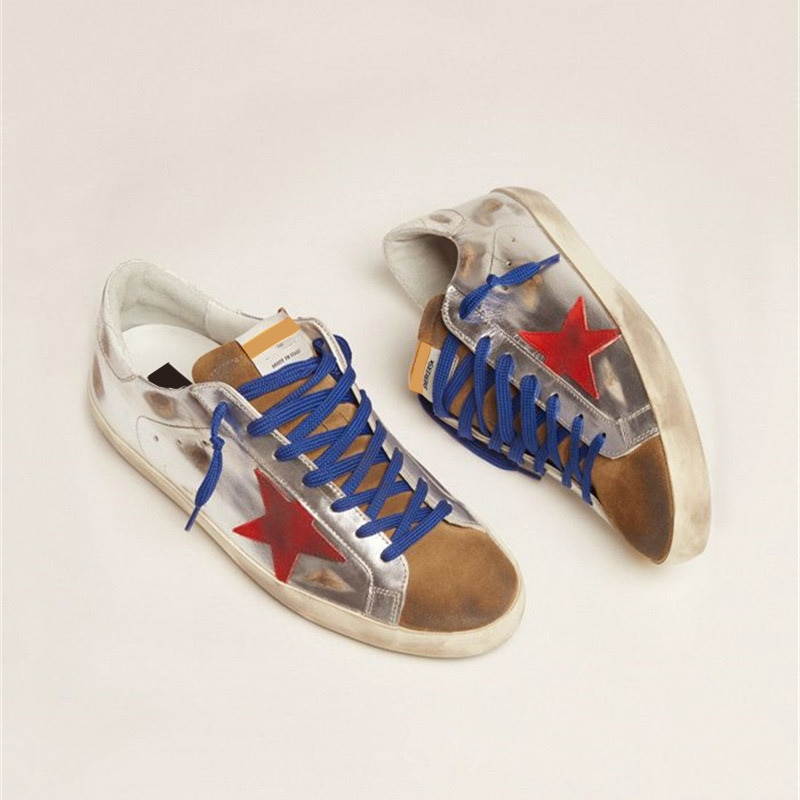 Autumn New Silver Patent Leather Parent-child First Layer Cowhide Retro Distressed Small Dirty Shoes Children's Sneakers QZ74 enlarge