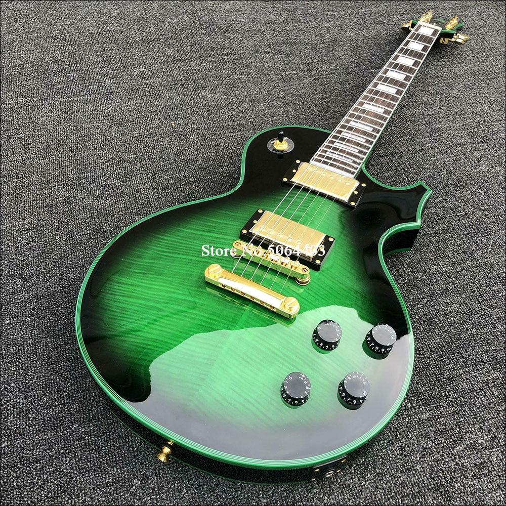 Guitarra eléctrica de 6 cuerdas de alta calidad, chapa de arce Tigre, ribete verde, pintura coreana, diapasón rosa, franqueo