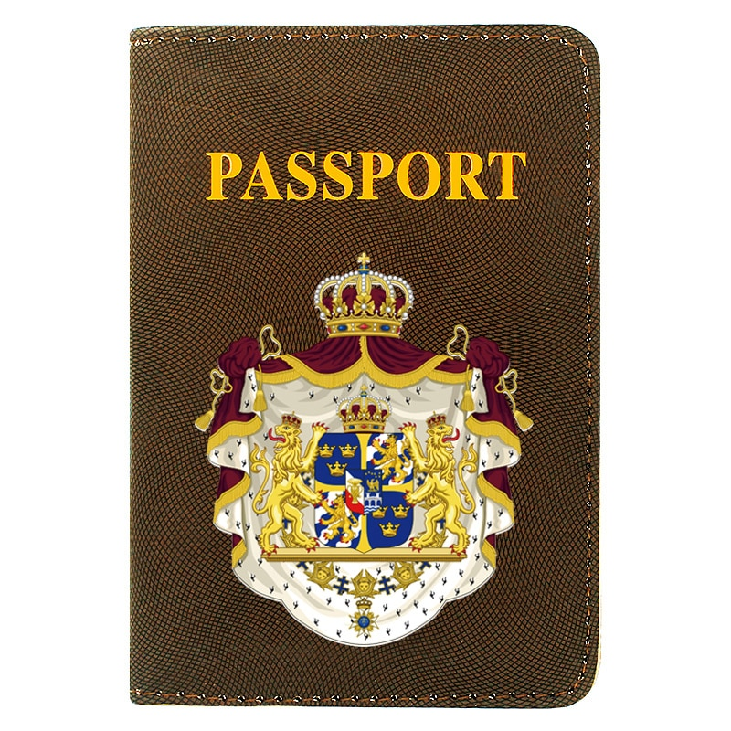 High Quality Fashion The Kingdom of Sweden Emblem  Printing Men Women Passport Cover Leather Travel Pocket Wallet Bags