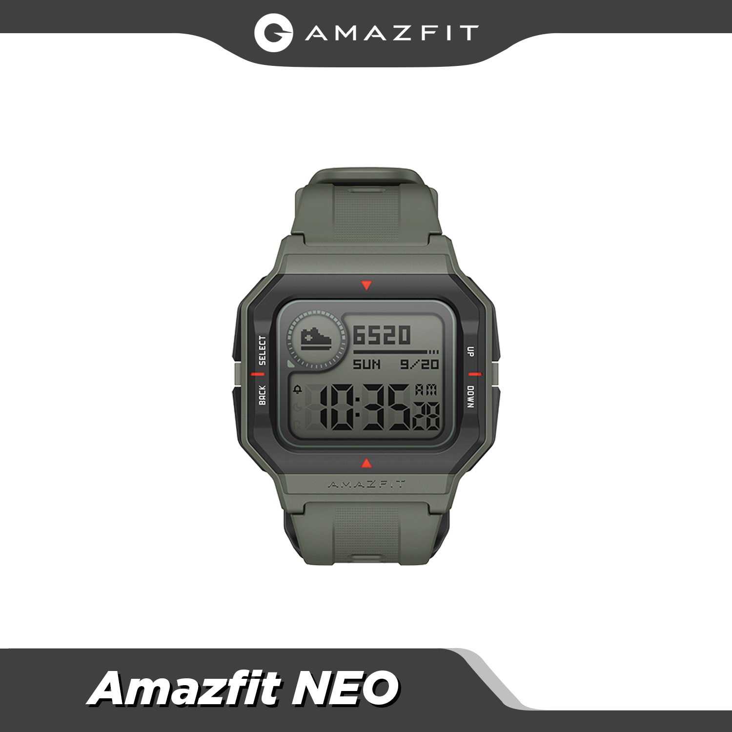 Amazfit Neo Retro Design Smartwatch 5ATM Heart Rate Monitoring Sleep Tracking 28 Days Battery Life Smart Watch red black green