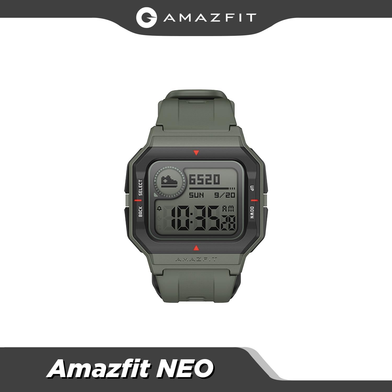 Amazfit-ساعة متصلة Neo Retro ، مراقبة معدل ضربات القلب والنوم ، مراقبة النوم ، عمر البطارية 28 يومًا ، أحمر ، أسود ، أخضر ، 5ATM
