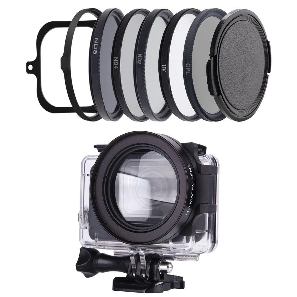 For Gopro Hero 8 Black Housing Accessories Filter 58mm Diving Macro Neutral Density Polar Go Pro Hero8 Black Waterproof Case
