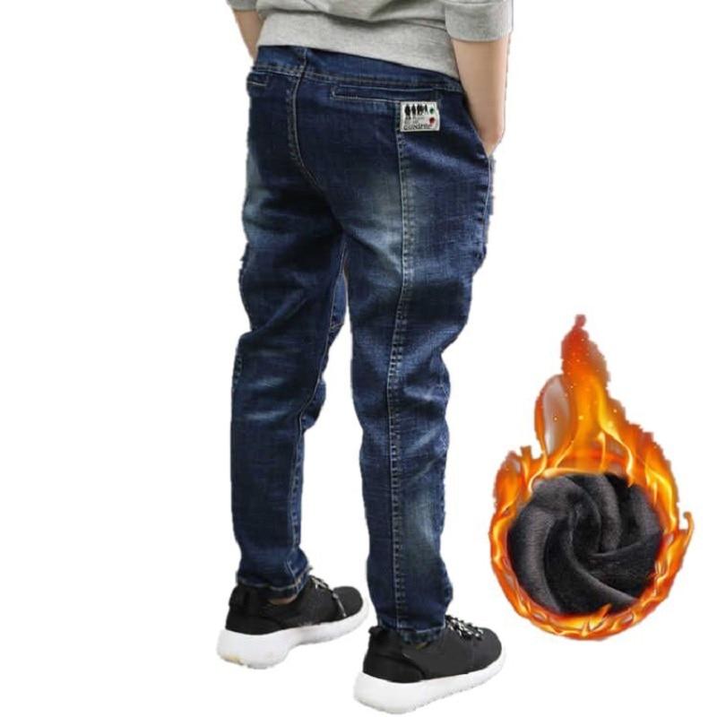 Ienens inverno meninos roupas quentes calças de brim clássico bottoms crianças denim roupas longas calças do bebê menino mais veludo