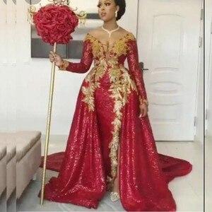 Burgundy Overskirts Evening Dresses Full Sleeves V Neck Golr Lace Appliques Plus Size Prom Dress  Arabic Dubai robe de soirée